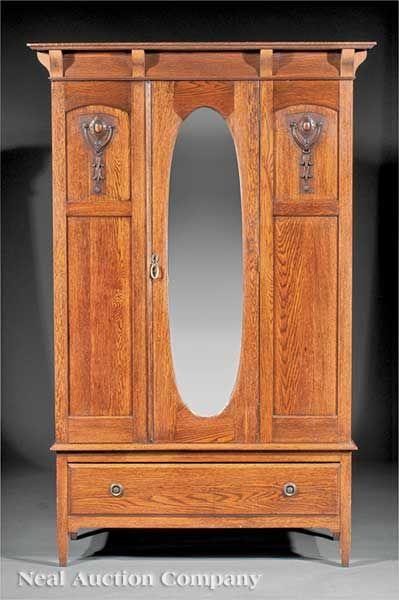 English Arts And Crafts Oak Armoire, C. 1900,