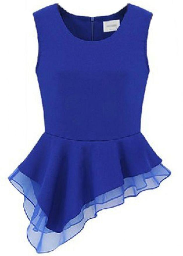 Buy Blue Sleeveless Zipper Asymmetrical Ruffles Blouse from abaday.com, FREE shipping Worldwide - Fashion Clothing, Latest Street Fashion At Abaday.com