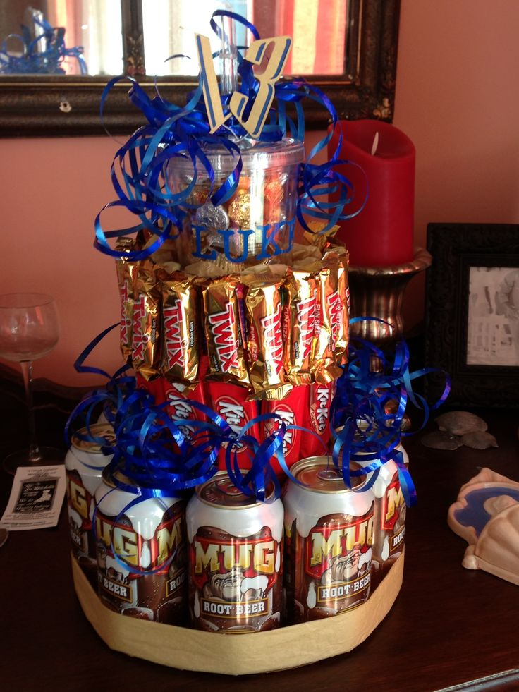 Root Beer Amp Candy Birthday Cake Crafty Gifts Pinterest