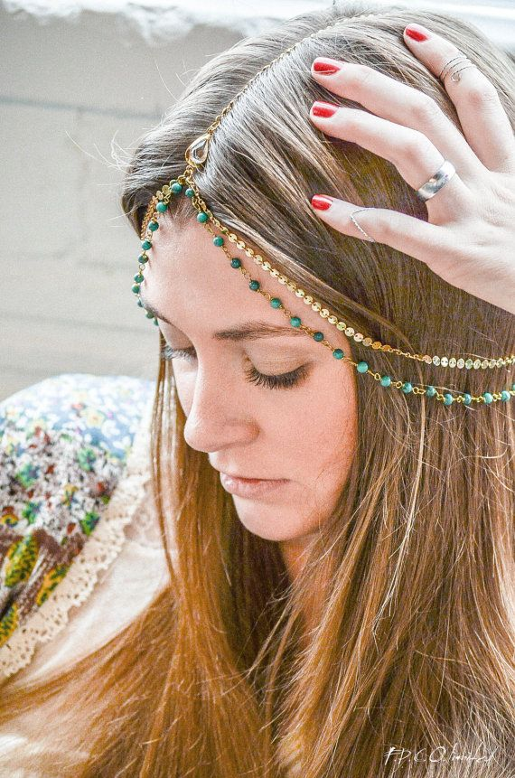 Boho Head Chain Headpiece Headband Hair Piece Bohemian Hipster Boho Hippie Gold Coin Chain Belly Dancing Bridal Jewelry EsmeraldaHP