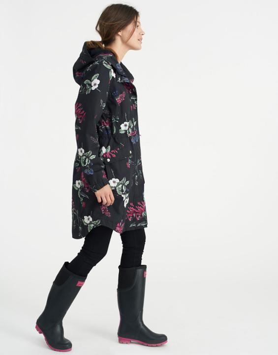 Raina printed Black Hedgerow Waterproof Coat  | Joules US