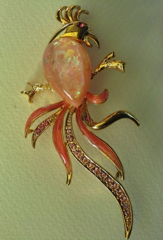 Lucite bird brooch