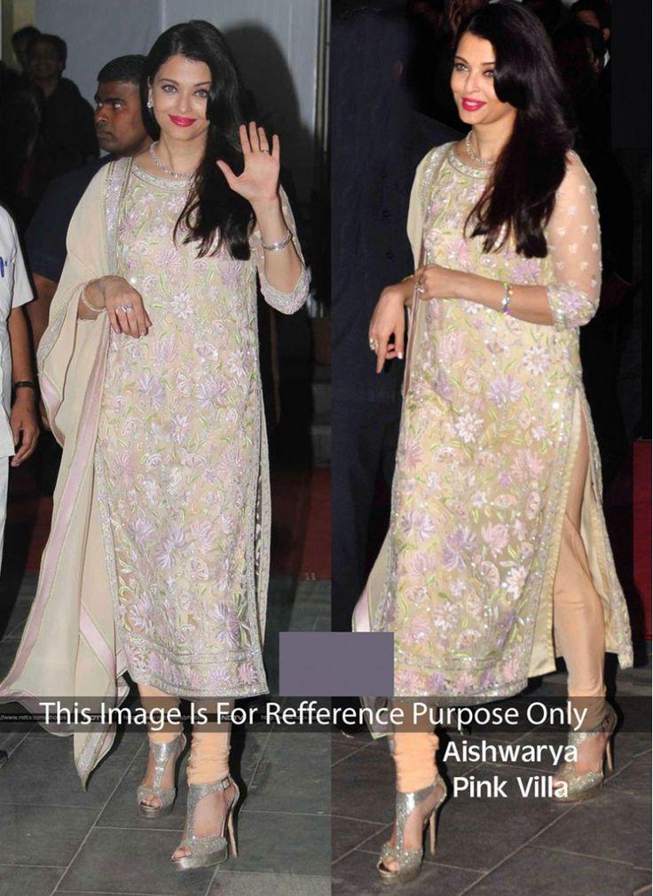Aishwarya Rai Bachchan Cream Georgette Churidar Designer Suit