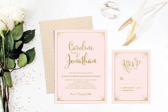 Printable Wedding Invitation Set, Pink Retro Wedding Suite, Formal Wedding… *Mum likes