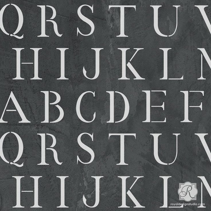 Paint alphabet letters on your bedroom wall decor with these classic wall stencils from Royal Design Studio