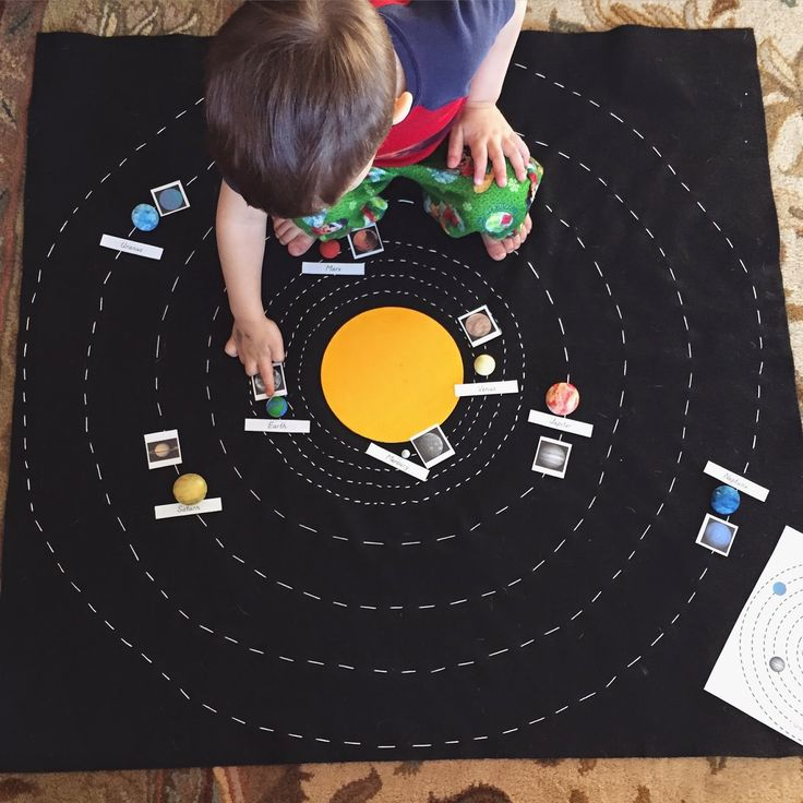 A DIY solar system map, a Montessori inspired way for children to learn about the planets and the sun.