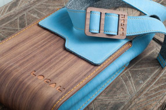 Wood and genuine leather Ipad bag Handmade by OldishButGoldish