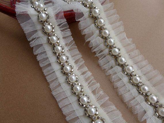 Pizzo avorio perline con strass trim cinture da di lacelindsay