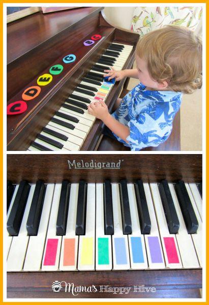 Mit Farben macht das Klavierspielen gleich viel mehr Spaß! #kita #kiga #kindergarten #musik #klavier #piano #startearly