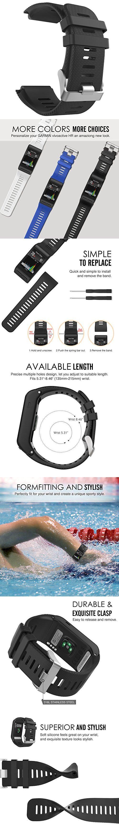 Garmin Vivoactive HR Watch Band, MoKo Soft Silicone Replacement Watch Band ONLY for Garmin Vivoactive HR Sports GPS Smart Watch with Adapter Tools - BLACK