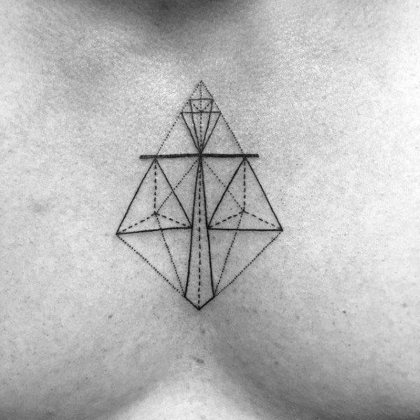 Geometric Mens Libra Scale Chest Tattoos                                                                                                                                                                                 More