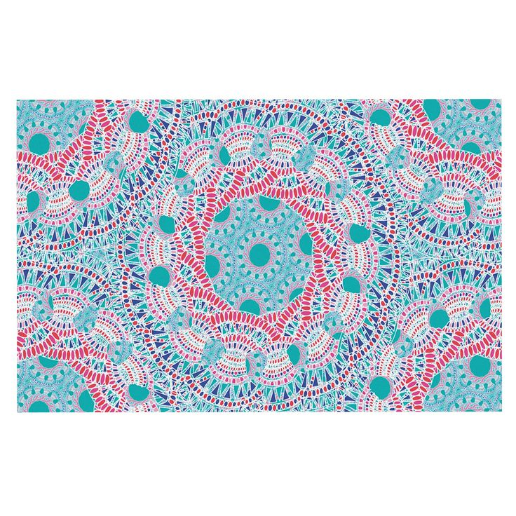 "Miranda Mol ""Prismatic White"" Blue Pink Abstract Decorative Door Mat"