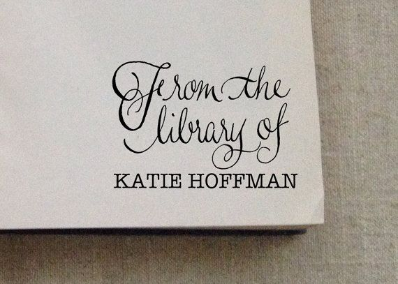 Custom Bookplate Rubber Stamp by KatieHoffmanInk on Etsy
