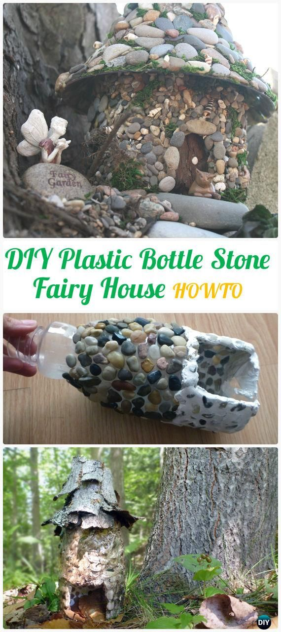 DIY Plastic Bottle Stone Fairy House Instructions - DIY Plastic Bottle Garden Projects & Ideas
