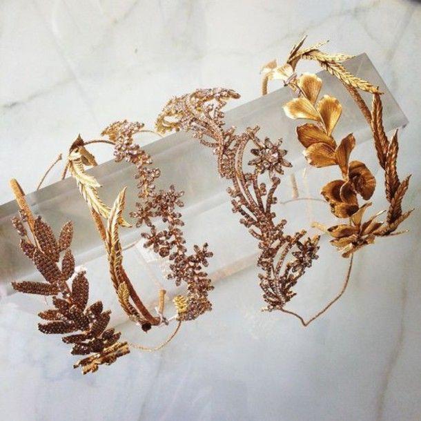 Hair accessory: crown gold diamonds rhinestones tiara hipster wedding boho wedding beach wedding