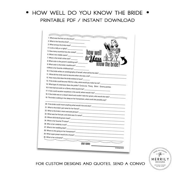 How Well Do You Know the Bride, Printable Bridal Shower