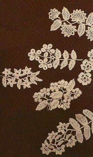 Схемы ирландского кружева  Большая подборка схем для вязания ирландского кружева крючком. Все схемы представляют собой различные растительные мотивы: листья разной формы, веточки, цветы, круглые мотивы. Изделия, связанные в технике ирландского кружева очаровывают своей красотой. Сложные на первый взгляд, на самом деле они подвластны любой мастерице, которая умеет вязать крючком. Ведь при вязании изделий в технике ирландского кружева, каждый элемент вяжется отдельно, а затем они соединяются…