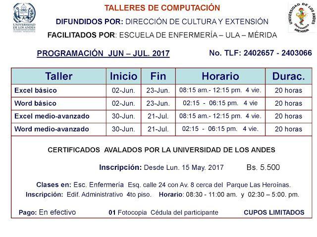 DIRECCION DE CULTURA ULA MERIDA-VENEZUELA: #Programacion #Cursos #CulturaULA #ULA #Merida