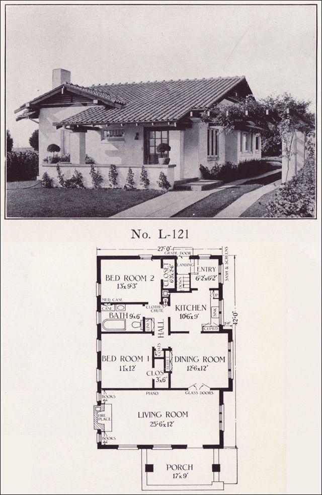 1922 Small Bungalow House Plan - No. L-121 - E. W. Stillwell & Co.