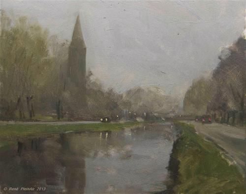 """Grijze Middag. Harmelen, Holland."" - Original Fine Art for Sale - © Pleinair Rene"
