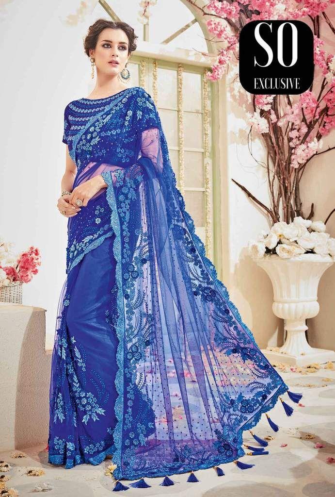 Sari haute couture Mariage Bleu Nazriya