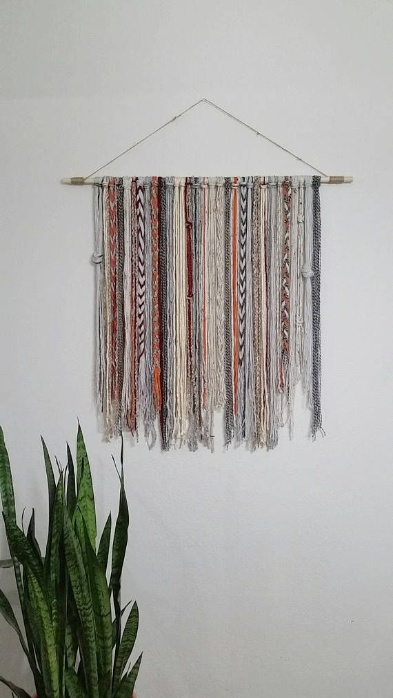 Bohemian Yarn Tapestry Yarn Wall Hanging Etsy Yarn Wall Hanging Bohemian Yarn Yarn Wall Art
