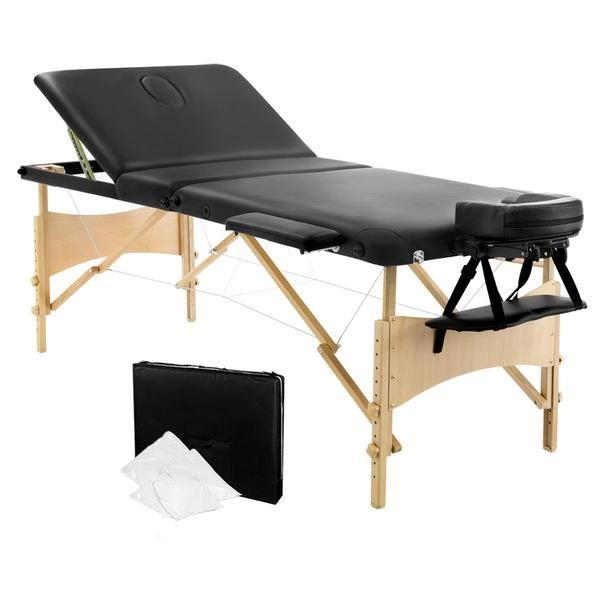 Portable Wooden 3 Fold Massage Table Chair Bed Black 70 cm – Click Online Sales