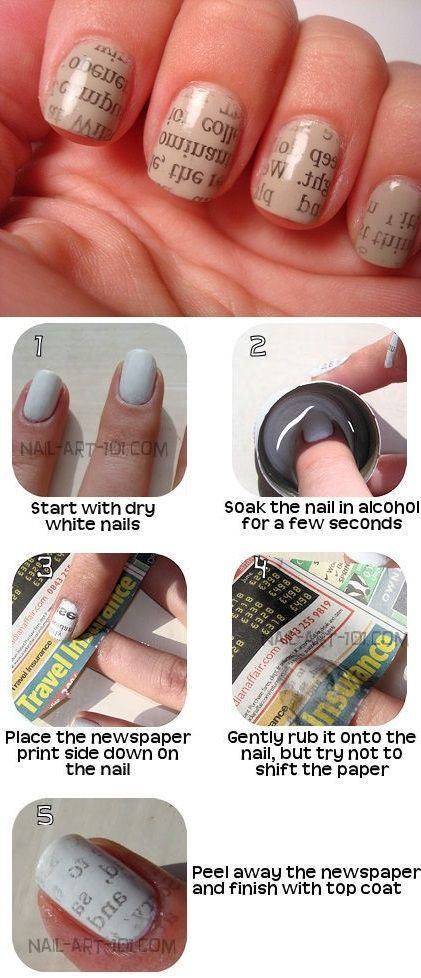 DIY Newspaper Nail Art Tutorial Pictures, Photos, and Images for Facebook, Tumblr, Pinterest, and Twitter