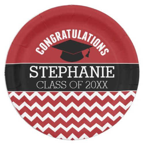 Congratulations Graduate - Red Black Graduation Paper Plate
