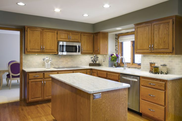Grey Kitchen Walls With Oak Cabinets a charming kitchen revamp for $1,527 | white countertops, white