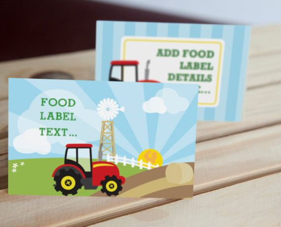 Farm Tractor Birthday Party Food Labels Tent Cards by SunshineParties on #Etsy......so bright and lovely! #FarmTractorFoodLabels #FarmTractorTentCards