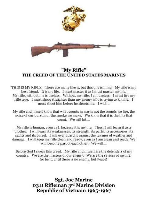 """""""My rifle prayer"""" U.S. marine corps"""