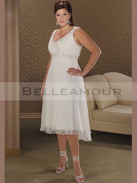 Robe de mariée grande taille Perles Col V Genou-longueur