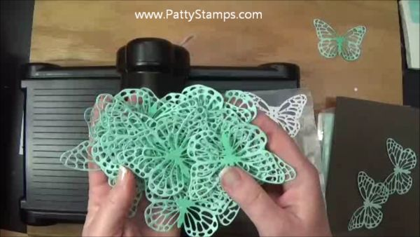 How to easily die cut the Butterflies thinlits with waxed paper and a dryer sheet in the Big Shot. Stampin' Up! Video tutorial by Patty Bennett