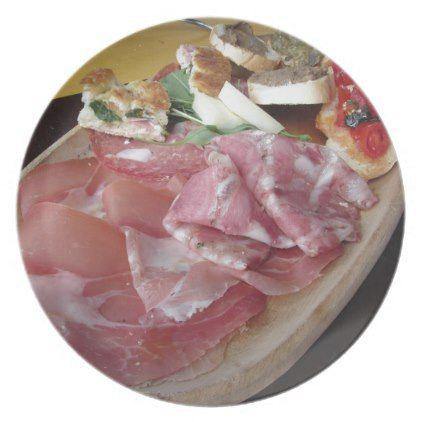 Typical rustic tuscan appetizer . Italian starter Melamine Plate - rustic style country natural diy customize personalize