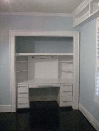desk in closet, and I love the high shelf on the right!