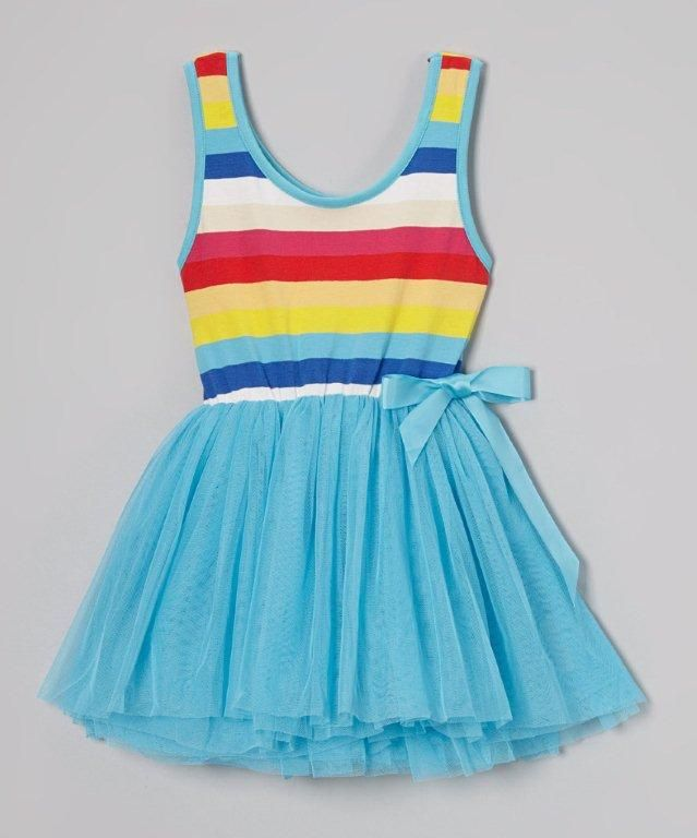 Blue rainbow tutu dress — Affordable funky clothes for girls and boys and cool kids accessories.