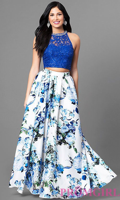 Image of long two-piece floral-print ivory and blue prom dress. Style: SS-X90631QA3 Front Image