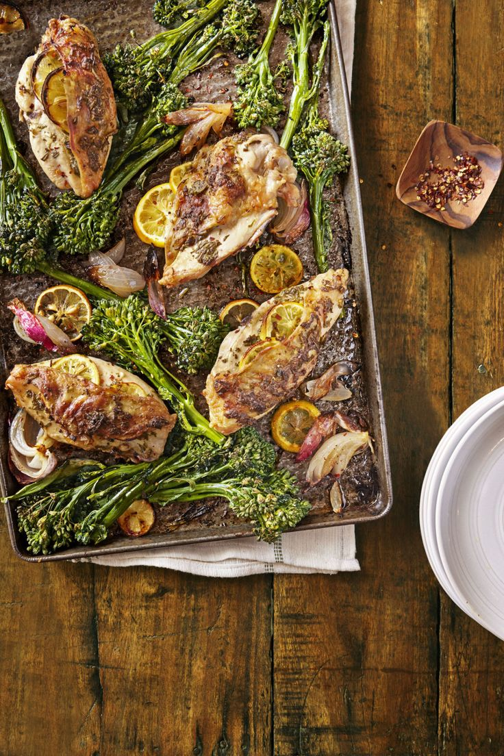 Lemon-Rosemary Chicken with Roasted Broccolini  - CountryLiving.com
