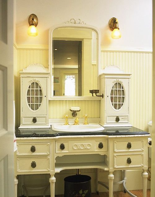 Classic Cabinets on Old Fashioned Bathroom Vanities with Tops under White Framed Wall Mirror