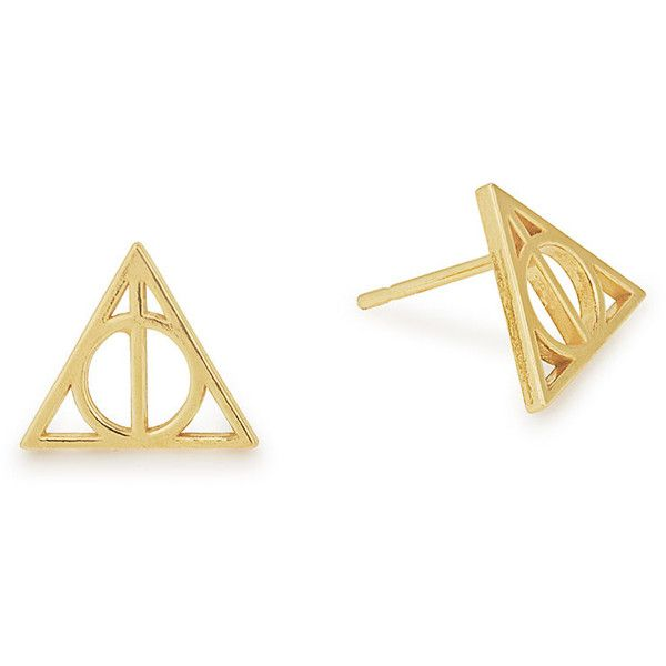 Harry Potter Deathly Hallows Symbol Earings - ALEX AND ANI ($38) ❤ liked on Polyvore featuring jewelry, earrings, alex and ani, earring jewelry, alex and ani jewelry and alex and ani earrings