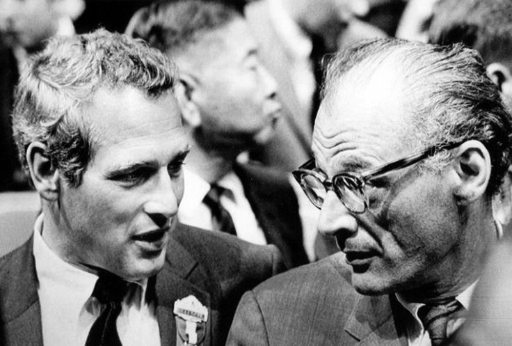 1968 ELECTION - Paul NEWMAN and Arthur MILLER at the Democratic Convention.