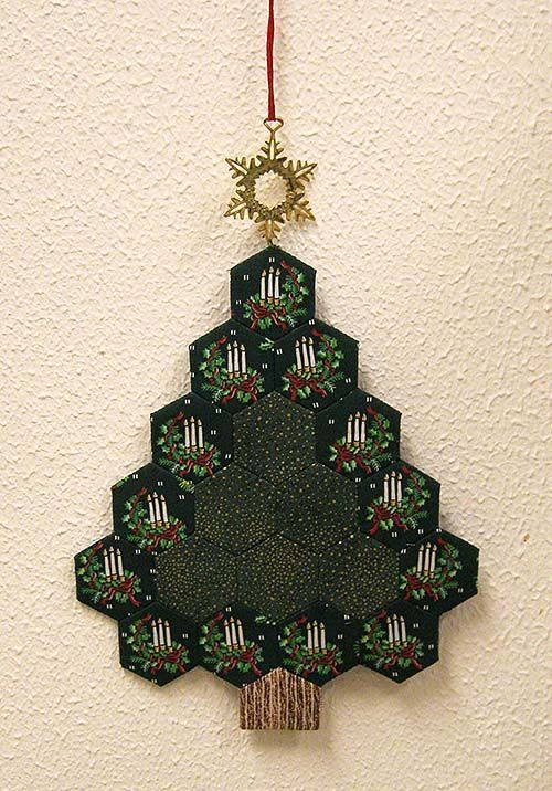 ... Cut, Hexagons Quilt, Christmas Trees, Hexie Trees, Fabric With Trees