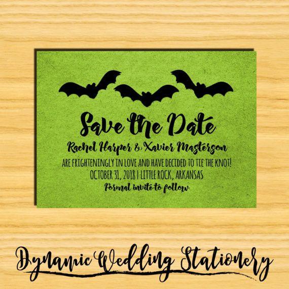Trio of Bats Halloween Digital DIY Printable Save the Date Invite by DynamicWeddings