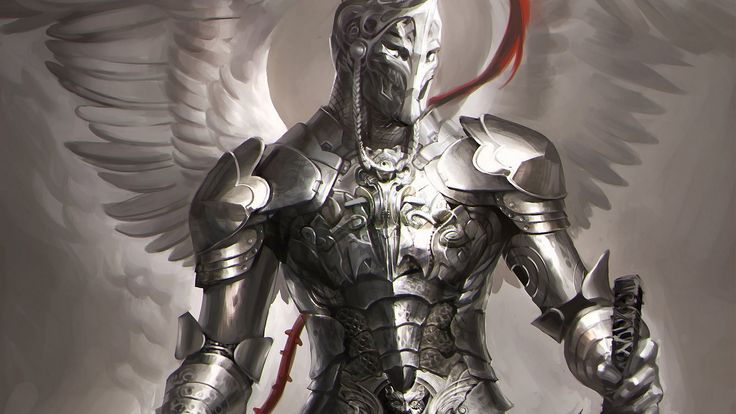 Anime Male Angel Armor Holy Warrior