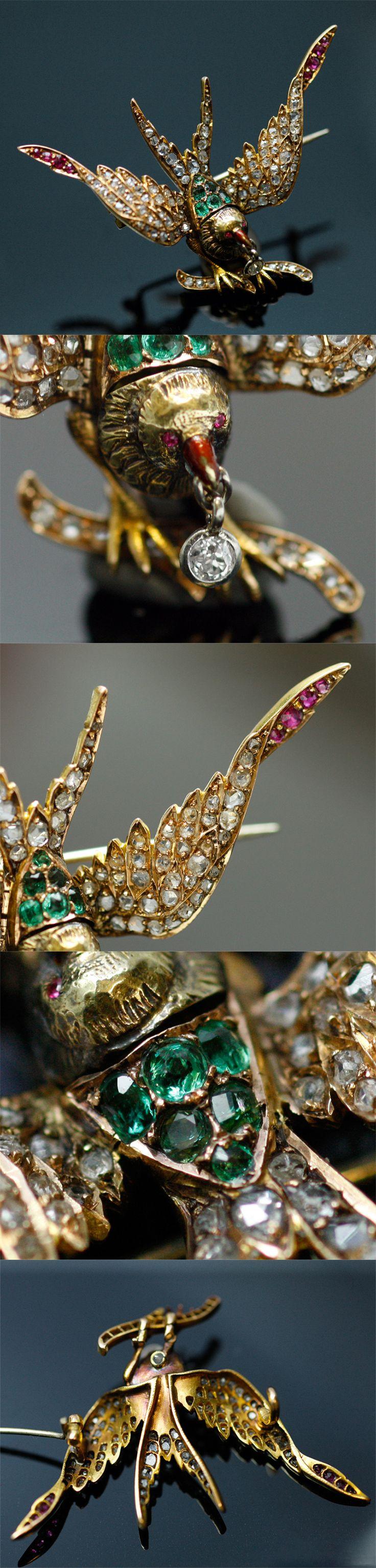Emerald, ruby and diamond bird brooch, France, ca. 1860-1880, emaralds, rubies diamond, 18k gold enamel, 5.2 × 3.6cm, 9.1g