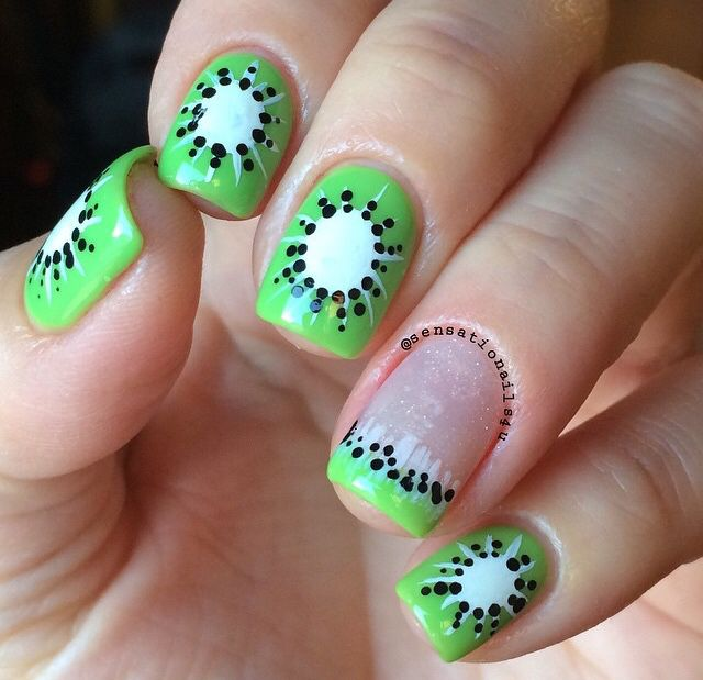 Kiwi nails by @sensationalnails4u                                                                                                                                                      More