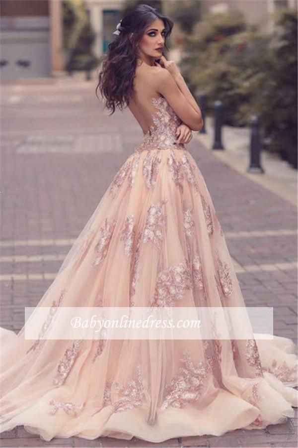 Elegante Rosa Abendkleider Spitze Träger Tüll Abendmoden ...