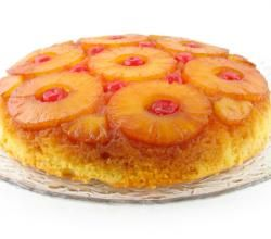 Pineapple Upside Down Cake recipe from ifood.tv. Place butter in an 8-inch round glass baking dish. Microwave at HIGH 30 seconds to melt. Stir in brown sugar a