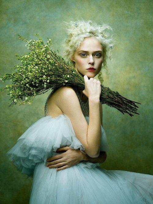 Coco Rocha by Zhang Jingna   Harper's Bazaar Vietnam .... ... Georgie- Green tutu kind dress and flowers from your florist?